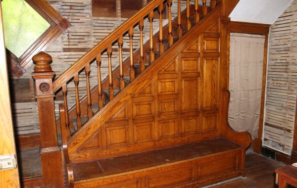Golden Oak Staircase, Mathews Home-Now Imagine the Room Restored to Its Former Elegance!